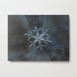 Real snowflake macro photo - Rigel Metal Print