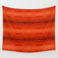 orange pattern Wall Tapestries featuring Orange Aztec Pattern by Corbin Henry