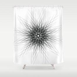 Minimalist black geometric lines mandala star Shower Curtain