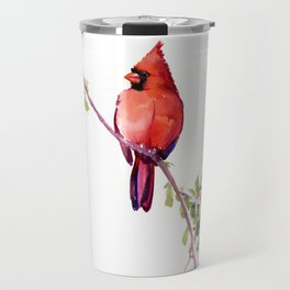 Cardinal Bird Vintage Style Red Cardinal design Travel Mug