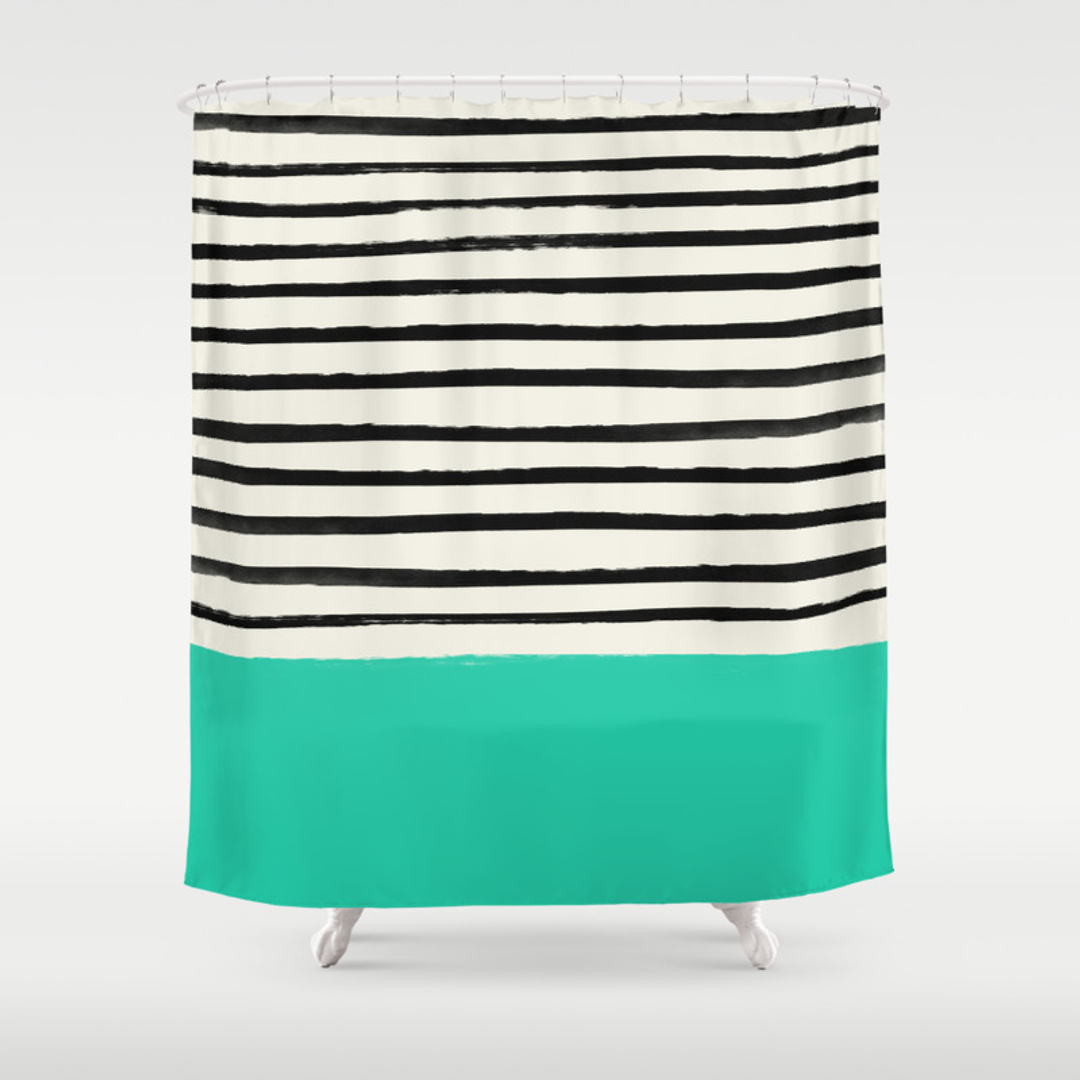 Colorblock Shower Curtains Society - Mint green shower curtain