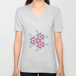 Flower-Kaleidoscope Pink Unisex V-Neck
