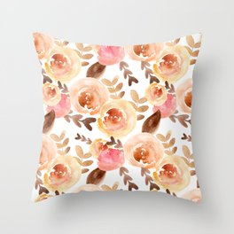 Peach and Pink Watercolor Floral Throw Pillow