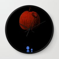 charlie brown Wall Clocks featuring That's no pumpkin Charlie Brown! by Robotic Ewe