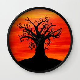 Autumn Tree Silhouette Sunset Acrylic Painting Wall Clock