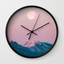 Moon and the Mountains – Landscape Photography Wall Clock