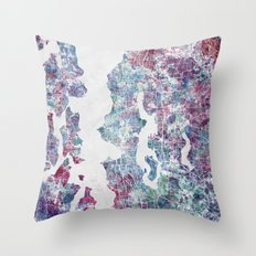 Seattle map Throw Pillow