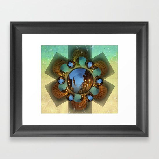 Emerald orbit Framed Art Print