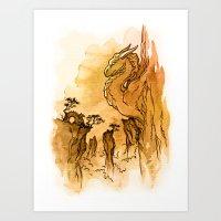 Dragon Sunset Art Print
