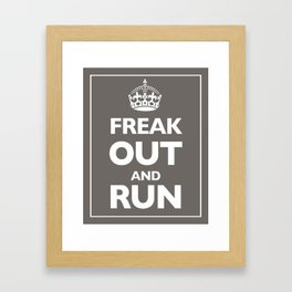 Keep Calm and Carry On Parody Brown Framed Art Print