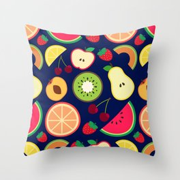 Fruit pattern vector illustration colorful Throw Pillow