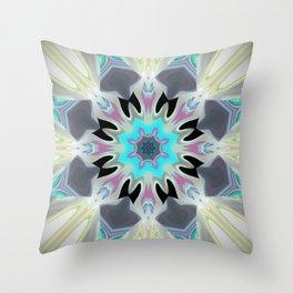 Aqua Peacock Inspired Mandala Throw Pillow