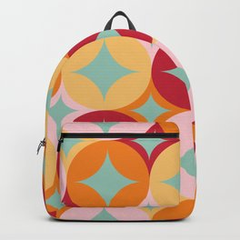 Merry and Bright, Christmas, Retro Art, Orange, Pink, Red, Yellow, Teal Backpack