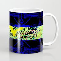 sweden Mugs featuring circuit board Sweden (Flag) by seb mcnulty
