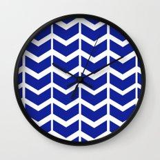 navy chevron Wall Clock