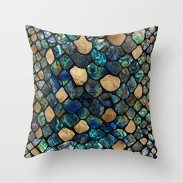 Faux Snake Skin Abalone shell and gold  Throw Pillow