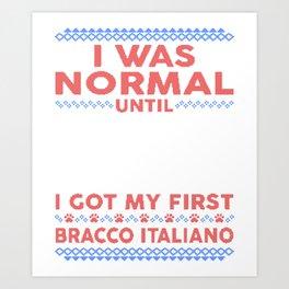 Bracco Italiano Ugly Christmas Sweaters Art Print