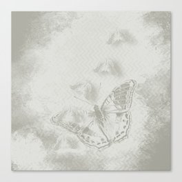 delicate butterflies and textured chevron pattern Canvas Print