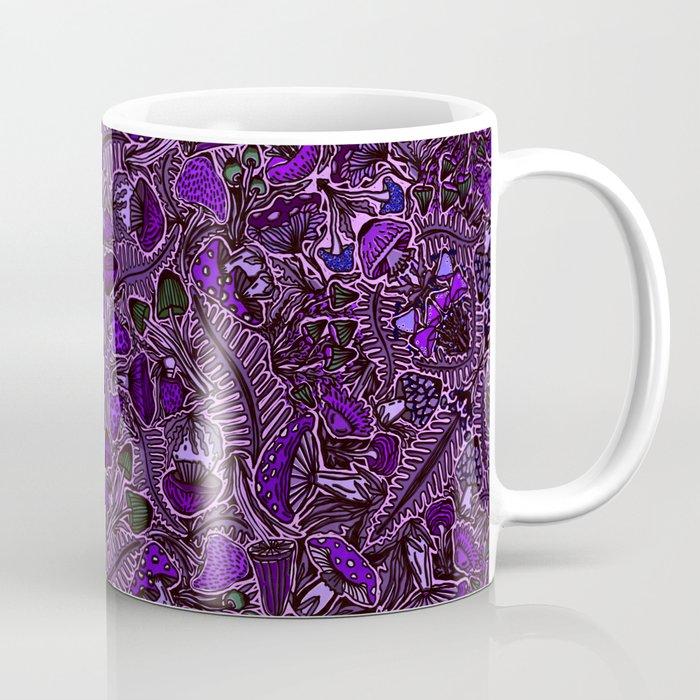 Ultraviolet Mushroom Wood, Field Ferns Leaves  in Lavender Purple Fungi Forest Painting Coffee Mug