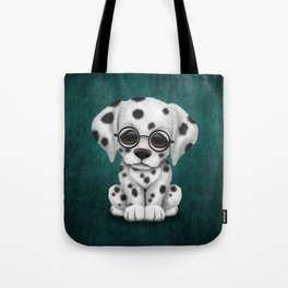 Dalmatian Puppy Wearing Reading Glasses on Blue Tote Bag