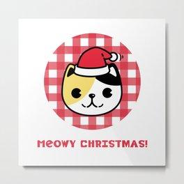 Meowy Christmas Cat Metal Print