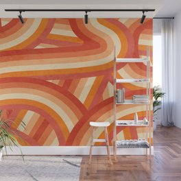 Red, Orange and Cream 70's Style Rainbow Stripes Wall Mural