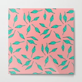 Modern summer tropical turquoise palm tree exotic leaf pattern on pink Metal Print