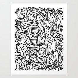 Doodle Heart Black and White Graffiti Street Art by Emmanuel Signorino Art Print