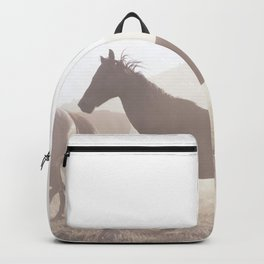 Wild horses in the morning. Backpack