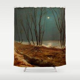 Carl Blechen - Landscape in Winter at Moonlight - German Romanticism - Oil Painting Shower Curtain