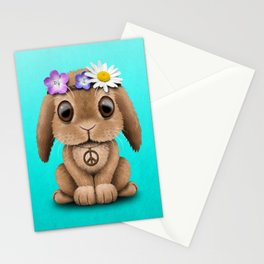 Cute Baby Bunny Hippie Stationery Cards