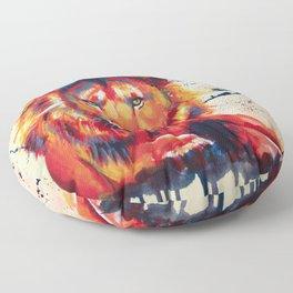 Quiet Ferocity - Original Lion Painting Floor Pillow