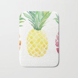 Watercolor Tropical Pineapple Bath Mat