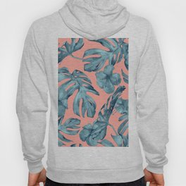 Island Life Teal on Coral Pink Hoody