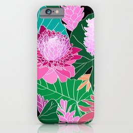 Tropical Botanical Pond in Black iPhone Case