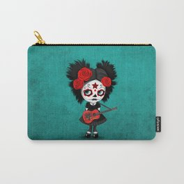 Day of the Dead Girl Playing Albanian Flag Guitar Carry-All Pouch