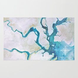 Charleston South Carolina Watercolor Map Typography Art Rug