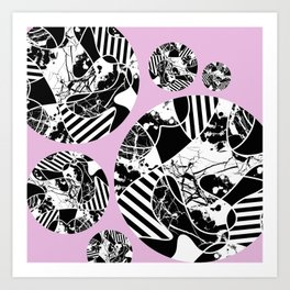Black And White Bubbles 2 - Multi patterned, multi textured stripes, paint splats and marble on pink Art Print