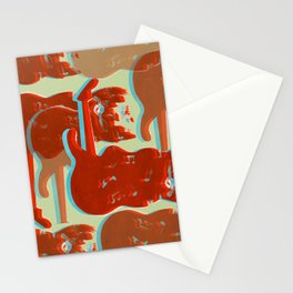 Silkscreen guitar print Stationery Cards