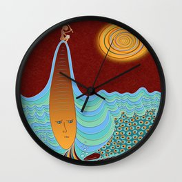 The Young Man And The Sea Wall Clock