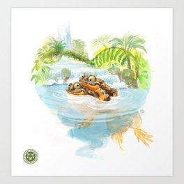 Frog hug Art Print