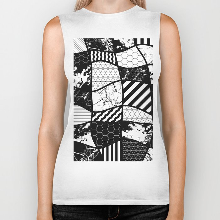 Crazy Patchwork (Abstract, black and white, geometric designs) Biker Tank