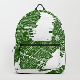 Green City Street Map of New York, USA Backpack