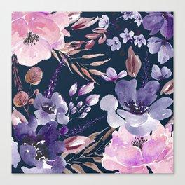 Watercolor Giant Flowers Blue Canvas Print