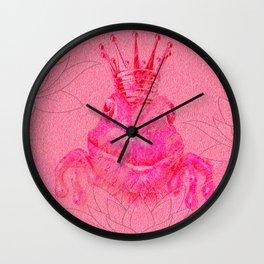 Pink Lotus Frog Queen Print Wall Clock