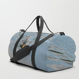 Mallard duck swimming in a turquoise lake 2 Duffle Bag