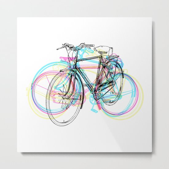 Artistic modern pink teal abstract bicycles art Metal Print