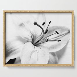 Black and White Floral Nature Photograph High-key Lily Serving Tray