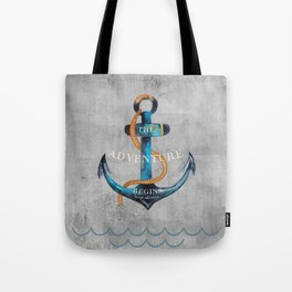 Maritime Design- Nautic Anchor Navy Marine Beach Tote Bag
