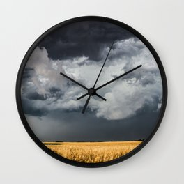 Cotton Candy - Storm Clouds Over Wheat Field in Kansas Wall Clock